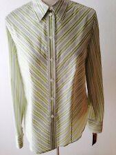 PETER NYGARD lgslv Shirt Blouse 12 wht/green/blk stripe 70% poly. 30% silk China