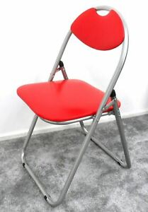 Folding Padded Chair Faux Leather Desk Office Event Garden Comfortable Seat Red