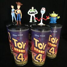 Set Toy Story 4 Disney Pixar Cinema Cup with Topper BUZZ WOODY FORKY ALIEN New