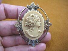 (CM9A-6) Psyche GREEK MYTHOLOGY ivory colored CAMEO brass Pin pendant Jewelry