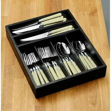 Cafe Cutlery Set, 36pc Cream, Stainless Steel/Wooden Tray