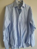 Charles Tyrwhitt French Cuff Men's Dress Shirt, 15.5/35, Light Blue Check/Plaid