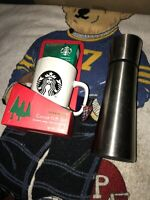 Starbucks 2005 Stainless Steel Thermos 17 fl oz Tumbler+cocoa Mug Gift Set Lot