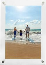 "Clear Acrylic Floating Picture Frame Wall Mount Double Panel 8.5x11"" Photo Frame"