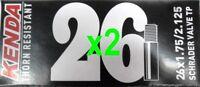 "2x Kenda 26"" ThornProof SCHRADER MTB Tube 26x1.75-2.125"" Thorn Proof"