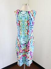 Adrianna Papell Blue Abstract Print Light Scuba Sheath Dress Size 12 Cocktail