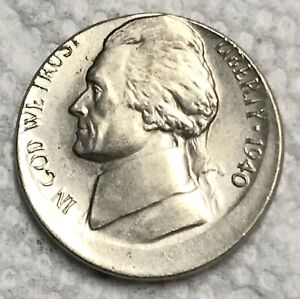 ERROR 1940-P JEFFERSON NICKEL STRUCK 15% OFF CENTER  AU/UNC?   FREE US SHIPPING