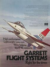 7/1974 PUB GARRETT FLIGHT SYSTEMS USAF GENERAL DYNAMICS YF-16 ORIGINAL AD