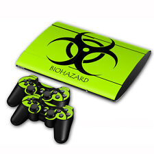 PS3 PlayStation 3 Slim 4000 Skin Sticker & free Controllers Cover Decal#70 Green