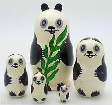 PANDA Nesting DOLL adorable SET Russian Hand Carved Hand Painted Babushka doll