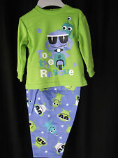 BNWT Boy's Sz 12 to 18 Months Blue/Lime Long Stretch Monster Logo PJ Pyjamas