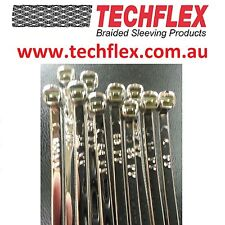 """100mm or 4"""" x 10 pieces - Techflex Chrome Cable Ties"""