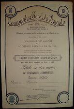 Companhia Geral de Angola - Ten Share Certified 1937. General Company of Angola