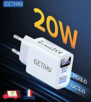 Chargeur Secteur Rapide USB C 5V 20W QC3.0 PD3.0 Quick Charge 3.0 LED