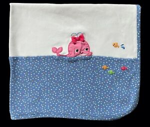 Gymboree Bubbly Whale Baby Blanket Blue White Pink Fish Cotton Polka Dot Lovey