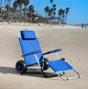 Mac Sports 2-in-1 Beach Day Folding Lounge Chair+Cargo Cart for Outdoors Summer