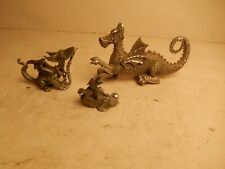 American Collectors Guild Pewter Dragon & Dragon & Crystal Ball + Chained Dragon