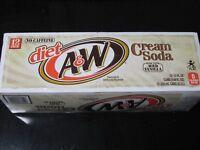 Diet A&W Cream Soda 12 Pack of Cans Caffeine Free Zero Calories