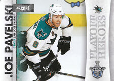 10/11 SCORE PLAYOFF HEROES STANLEY CUP #1 JOE PAVELSKI SHARKS *9007