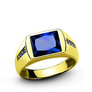 Men's Ring SOLID 10k YELLOW GOLD with Blue Sapphire and Yellow Citrine Gemstone