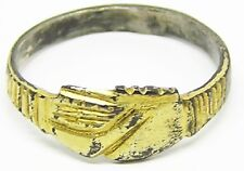 "Superb Medieval Silver Gilt Wedding Ring ""Fede"" Type c. 14th - 15th century"