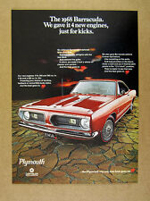 1968 Plymouth Barracuda red hardtop car photo vintage print Ad