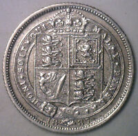 1887 UK Silver 6 Pence Sixpence Great Britain UK Tanner Coin XF
