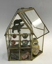 Vintage Brass Glass Mirrored Back Curio Display Cabinet Table/Wall House Shape