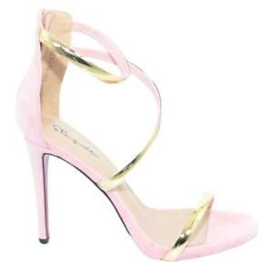 Sandalo elegante tacco a spillo camoscio rosa con cinturini oro e intreccio a tr