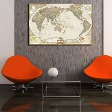 Vintage World Map Stretched Canvas Print Framed Wall Art Office Home Decor DIY