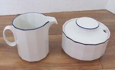Rosenthal Studio Linie/Line Aegina -Polygon Blue on Rim- Sugar Bowl & Creamer