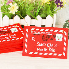 1x To Santa Claus Fabric Envelope Small Red Print Bag Christmas Decor Gift