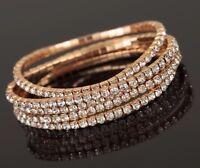 10 x Gold Diamanté Flexible Bracelets Wholesale Joblot Car Boot Jewellery
