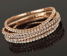 10 x Gold Diamanté Flexible Bracelets Wholesale Joblot Car Boot Jewellery