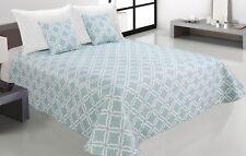 Zweiseitige Tagesdecke Bettüberwurf Steppdecke 3Tlg.180x220 Tavira 006 Blau
