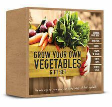 GROW YOUR OWN VEGETABLES GIFT SET SEEDS, FORK, TROWEL, SEED TRAYS, STICKS & BOOK
