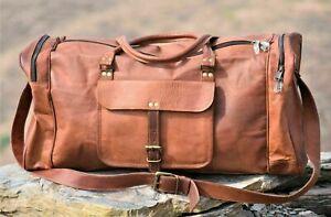 JSV Women genuine Leather large vintage duffle travel gym weekend overnight bag