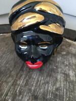 Black Americana Blackamoor Genie Head Vase EUC
