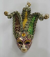 Mardi Gras Purple Green Gold Jeweled Venetian Mask Christmas Tree Ornament