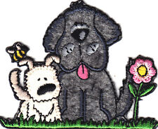 DOGS-PUPPIES w/FLOWER & BEE - PETS - PUPPY - ANIMALS/Iron On Embroidered Patch