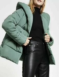 River Island Ladies Shawl Collar Padded Coat - Sage UK 14 BNWT RRP £80