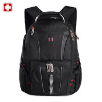 "Swiss 17"" waterproof Laptop Backpack Travel School shoulder Bags SW8114 Black"