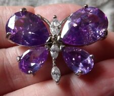 QUALITY, SPARKLY AMETHYST & CLEAR CRYSTAL SET BUTTERFLY BROOCH MA88