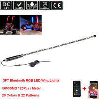 3ft Lighted LED Whip Lights APP+Remote Control for ATV Polaris UTV RZR +Flag