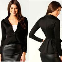 Women's Ladies Crop Frill Shift Slim Fit Peplum Blazer Jacket Coat Size 8-24 US