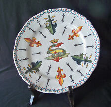 """1800's Hand Formed & Ptd French """"Chaumont Sur Loire"""" Faience Pottery Plate"""