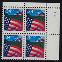 2001 FLAG 34c Sc 3469 plate block MNH low printing!