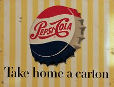 "TIN SIGN ""Pepsi Cola Cap Stripes"" Beverages Signs Garage Wall Decor"