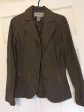 Warehouse Taupe Blazer Jacket with Tan Faux Leather Piping Size 8