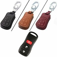 New Leather 3 Button Remote Key Bag Case Fob Holder Chain For Nissan Series J